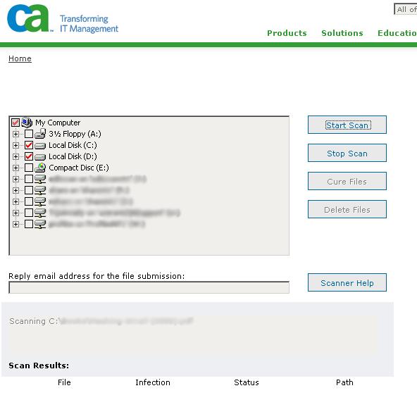 ca online virus scan