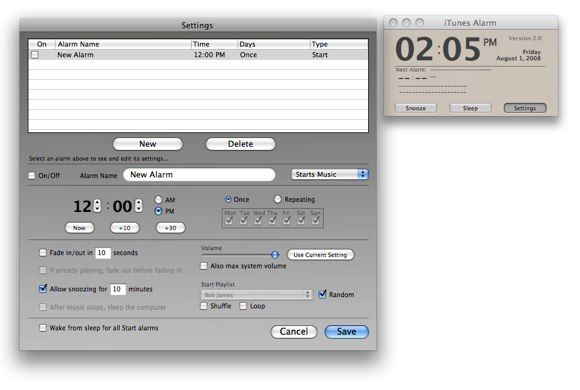 itunes alarm clock