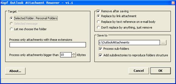 outlook attachment folder