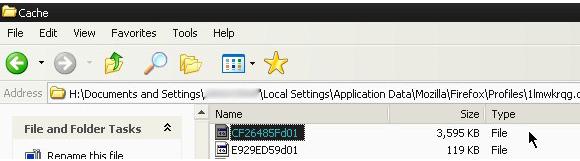 Firefox Cache Folder on XP