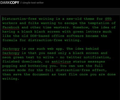 Darkcopy Minimalist Word Processor