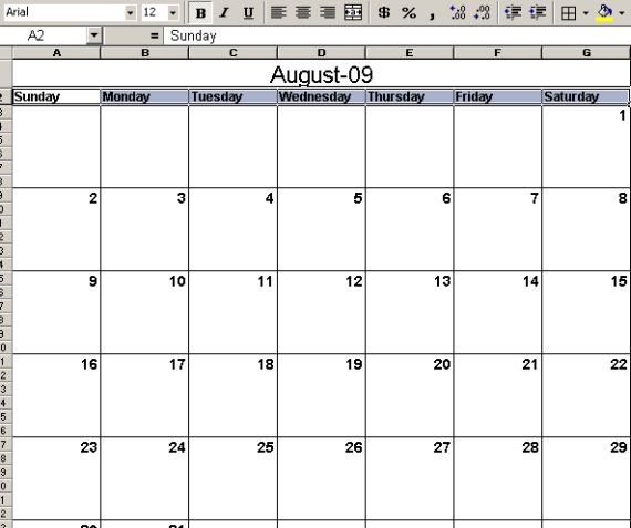 Finally, you're ready to print out your calendar to a nice clean ...