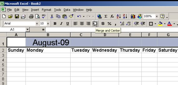 create calendar in excel