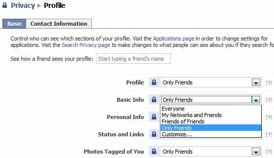 facebook privacy Profile