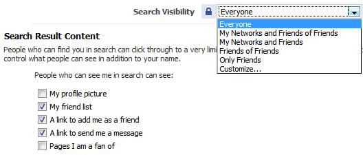 facebook privacy - search