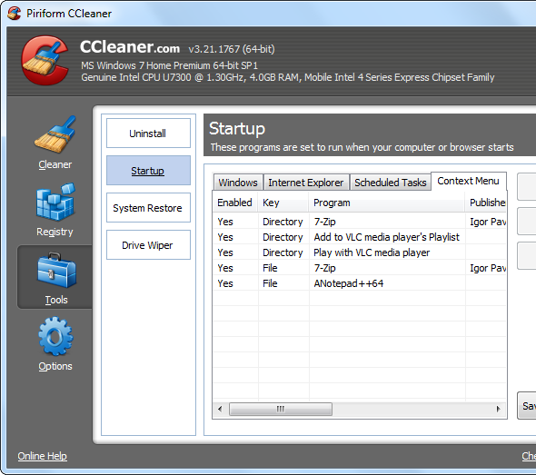 ccleaner context menu cleaning   Make Windows 7 Faster By Removing Context Menu Entries