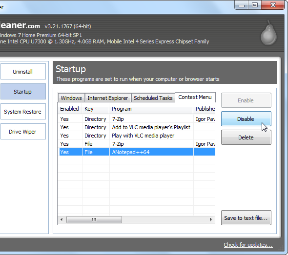 ccleaner disable a context menu entry   Make Windows 7 Faster By Removing Context Menu Entries