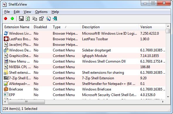 shellexview main window   Make Windows 7 Faster By Removing Context Menu Entries