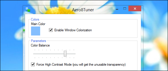 aero8tuner transparency   8 Features Missing in Windows 8 and How To Get Them Back