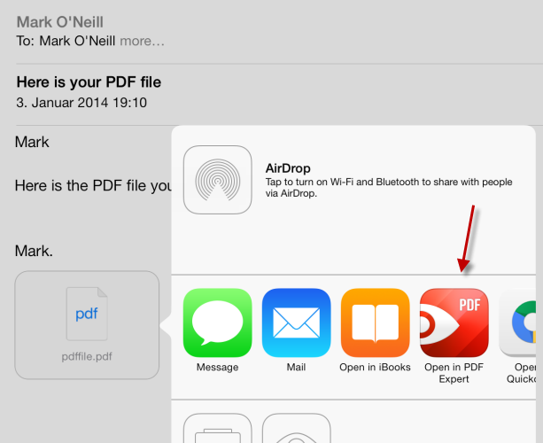 how to  pdf attachment on ipad