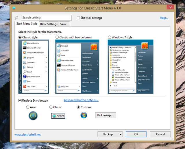 classic shell options   How To Make Windows 8 or 8.1 Look Like Windows 7 or XP