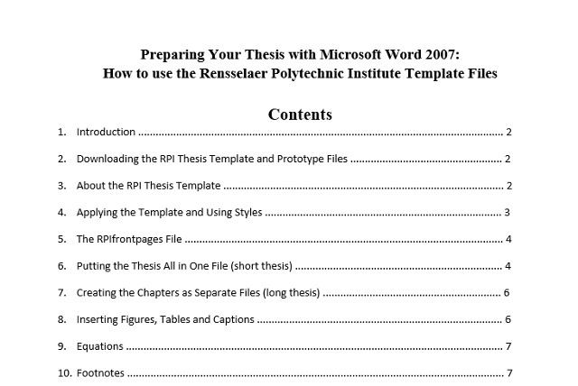 table of contents in apa format