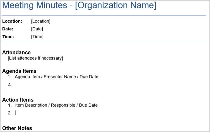 Basic Meeting Minutes Vertex42  Business Meeting Minutes Template Word