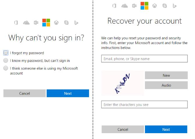 microsoft account login password reset