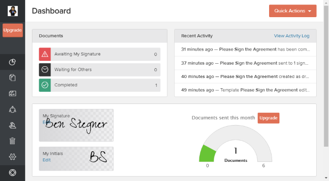 Say Goodbye to Paper Contracts: Eversign Makes eSignatures Great 01 Eversign Dashboard