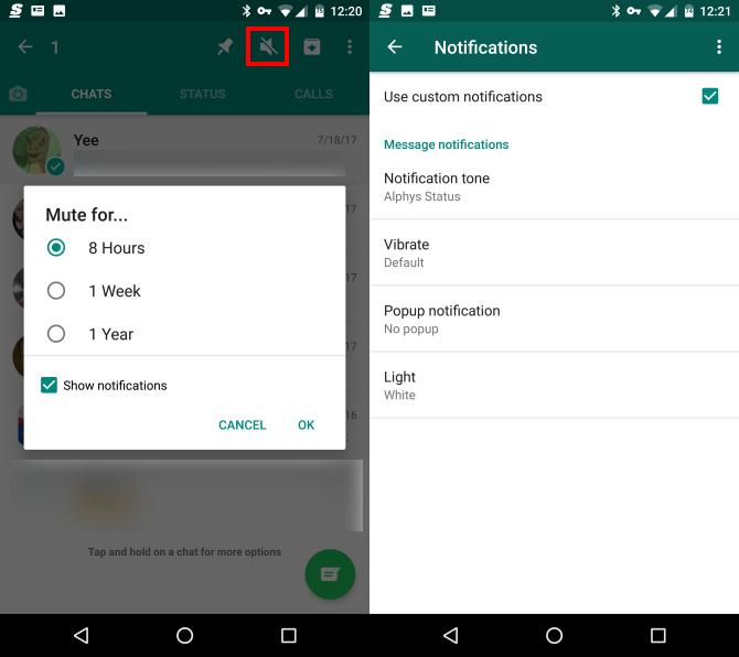whatsapp mute notification options