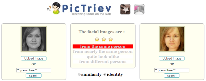 Web Facial search recognition