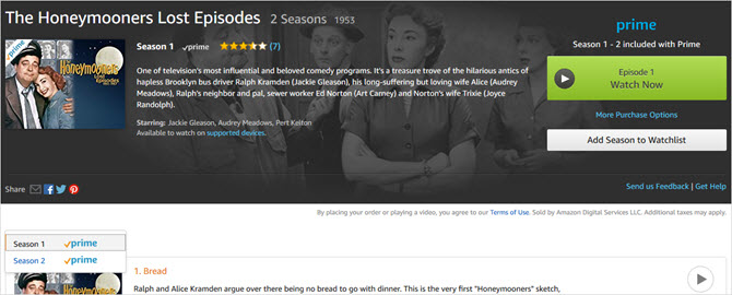 amazon prime video the honeymooners