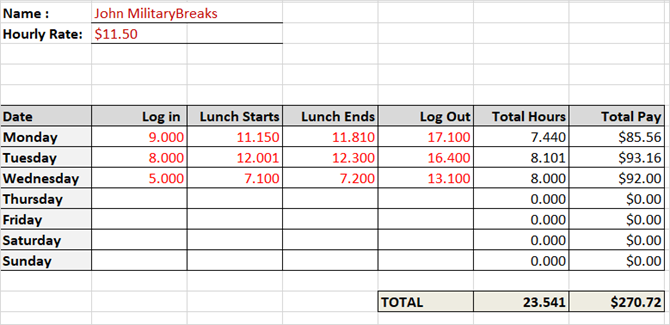 Timesheet Template Track Hours Military Time With Lunch Breaks Excel