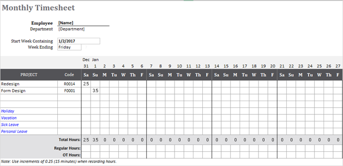 Timesheet Template Track Hours Monthly Project Excel