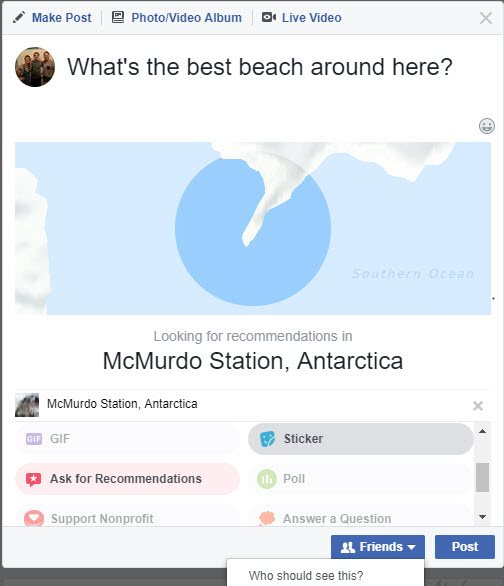 ask facebook friends for recommendations