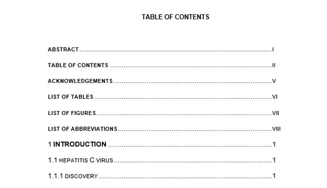 Do dissertation contents page