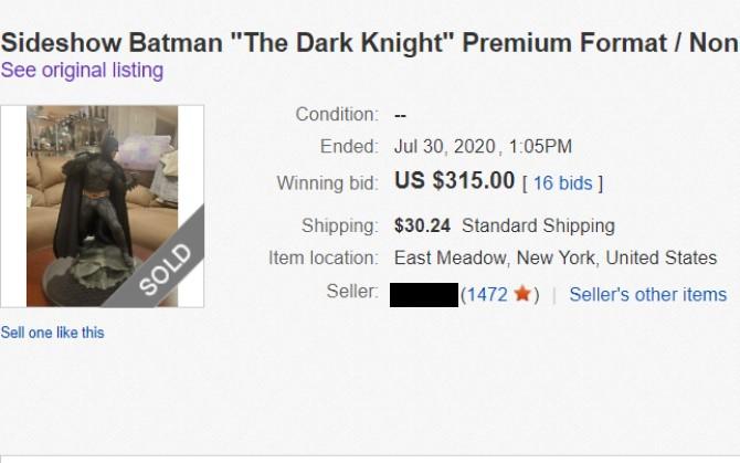 Sold eBay Item Product Listing Price