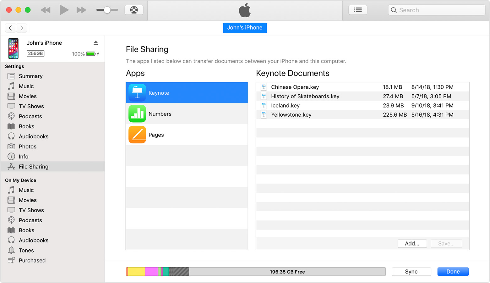 itunes transfer files iphone