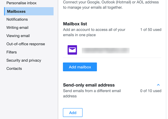add send only email to yahoo