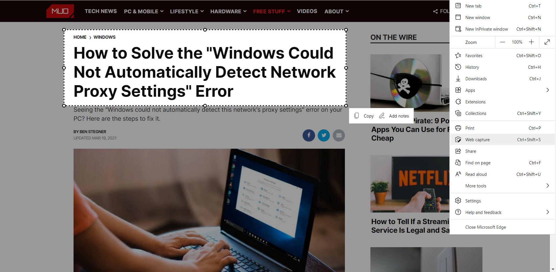Функция Microsoft Edge Web Capture