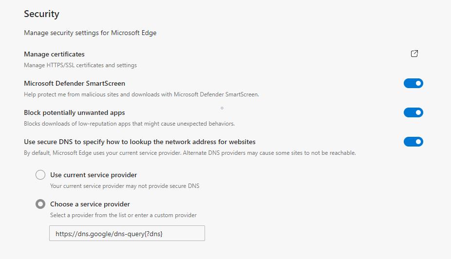 Microsoft Edge изменить поставщика DNS