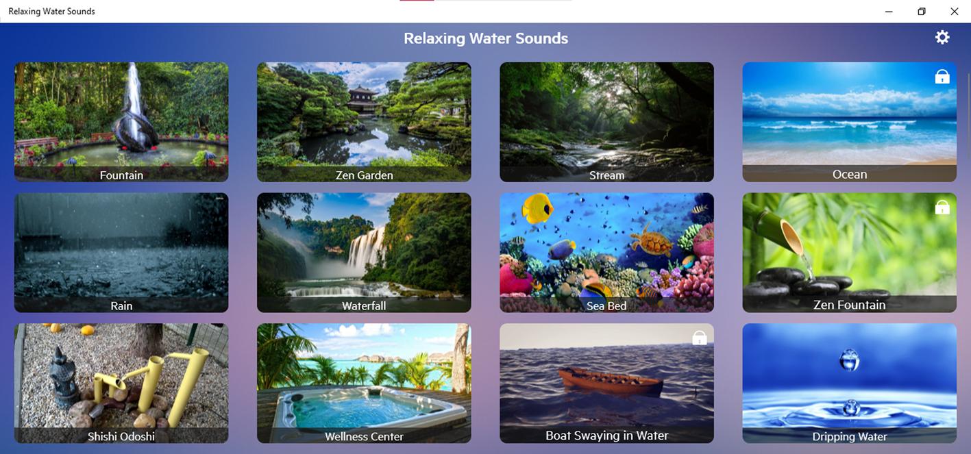 снимок экрана с расслабляющими звуками воды из приложения Windows