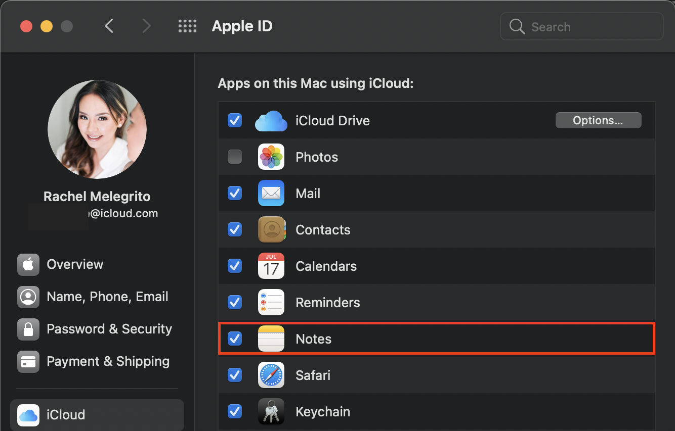 Ticking Notes on iCloud from Mac
